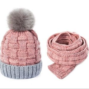 2-Pc Hat & Scarf Pink/Grey Fleece Lined NWT Cozy